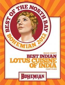 Bohemian LotusCuisineofIndia 231x300 Bohemian 2012 Best Indian Restaurant