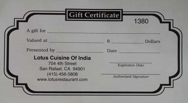 Costco Gift Card Indian Restaurant Lotus Cuisine Of India San