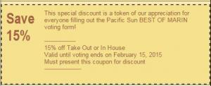 Discount Coupon LAST CHANCE! VOTE Pacific Sun BEST of Marin Coupon 300x122