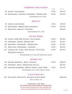 Cabernet Sauvignon, Merlot, Red Wines, Sparkling  Lotus New Beer and Wine List Lotus WineBeer Menu 8 24 2015 Page 3