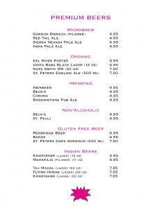 Premium Beers, Microbrew, Organic and Gluten Free Beer, Indian Beer  Lotus New Beer and Wine List Lotus WineBeer Menu 8 24 2015 Page 4
