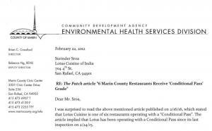 Marin_EHS_letter  Patch.com Damages Lotus Reputation with Poorly Researched Article on Health Violations Marin EHS letter