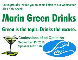 Kahl Consultants on Marin Green Drinks Optimizer Alex Kahl speaking at Marin Green Drinks MGD 300x232