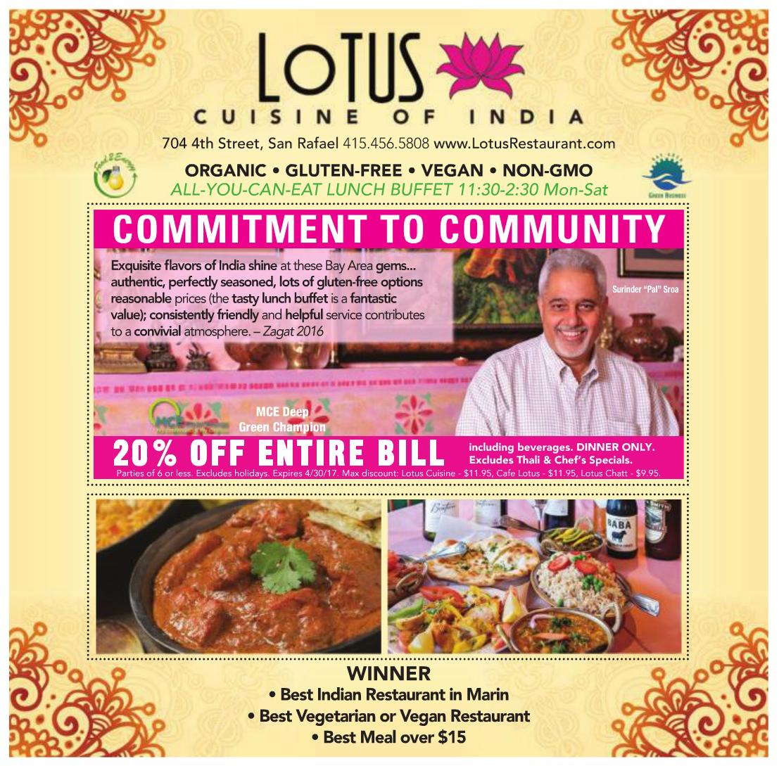 Lotus Cuisine wins in Marin IJ Readers' Choice Awards 2017!