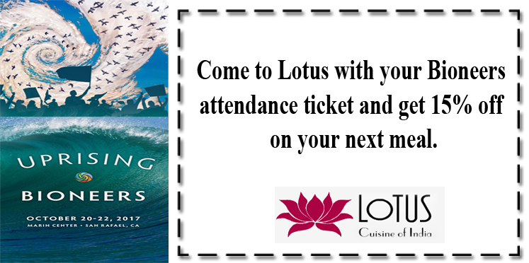 15% Discount at Lotus Bioneers Conference 2017 Bioneers Conference 15 Discount Lotus