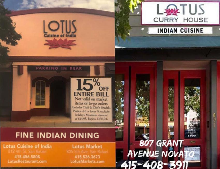 Lotus Cuisine of India - Marin County Now In Orange Tier - 15 Off - Lotus Cuisine of India and Lotus Curry House and texts.
